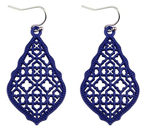 stylesilove Womens Trendy Moroccan Matte Hollow Filigree Clover Motif Dangle Earrings (Navy Blue)