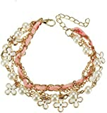 Wearyourfashion Ocean White Pearl Leather Clover Rope Bracelet for Women