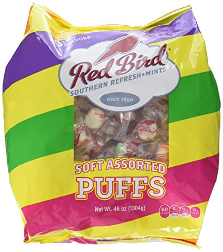 (Red Bird Assorted Soft Puffs Mints 240 Pieces (46 Oz Bag) Made with Pure Cane Sugar Fat Free Gluten Free)