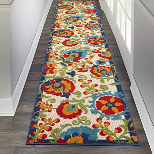 - Nourison ALH17 Aloha Indoor/Outdoor Floral Multicolor Area Rug Runner (2'3