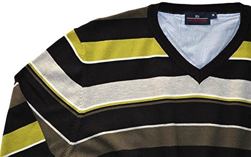 HS navigazione – męski sweter, czarno-Lemon-taupe-szary, wycięcie w kształcie V, Bamboo komfort-do robienia na drutach - XXL / 56 czarny biały: Odzież