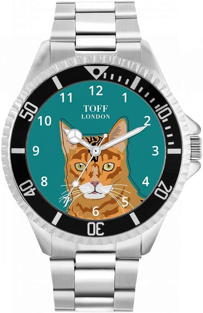 Toff London Custom Design 42MM 30m WR Reloj de Gato con Cabeza de Jengibre y Bengala