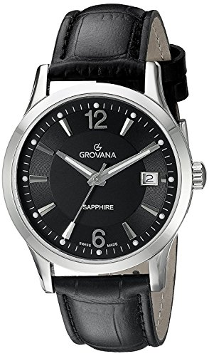 Grovana Men's 'Traditional' Swiss Quartz Stainless Steel and Leather Casual Watch, Color:Black (Model: 1209-1537)