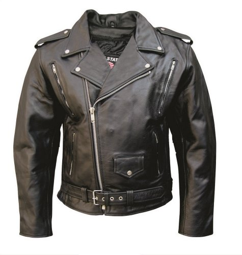Men's M.C. Buffalo Hide Leather Motorcycle jacket w/ vented front and back zipout liner and full belt AL 2072 -48