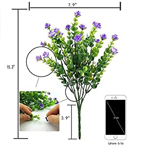 Kingbuy Artificial Flowers 6 Bundles Outdoor UV Resistant Plants Shrubs Plastic Leaves Fake Bushes Greenery for Plants Indoor Outside Hanging Planter Home Patio Yard Garden Decor Window Box 3