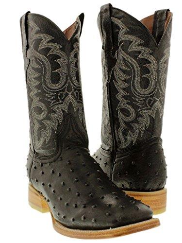 Texas Legacy - Men's Black Ostrich Quill Design Leather Cowboy Boots Square Toe 10.5 D(M) US