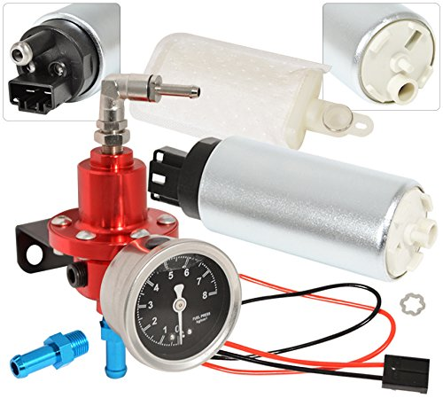 Universal Adjustable Aluminum Fuel Pressure Regulator 0-140 PSI Engine Motor Turbocharger Supercharger N/A Set Kit Anodized Red + Liquid Filled Gauge + 255LPH High Flow Pressure Pump (Fuel Injected Supercharger compare prices)