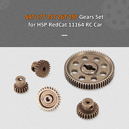 Differential Main Metal Spur Gear 64T 17T 21T 26T 29T for Redcat HSP 1/10 RC Car RC Replacement Gear Combo for Monster Truck Car