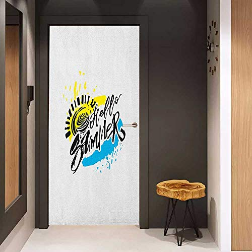 Onefzc Sticker for Door Decoration Hello Summer Grunge Style Speckled Brush Strokes with Motivational Handwritten Lettering Door Mural Free Sticker W17.1 x H78.7 Multicolor