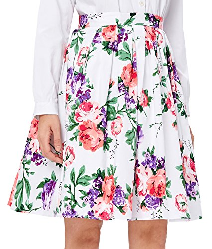 GRACE KARIN Retro Style Pleated Skirts Floral Print Short Size L ()
