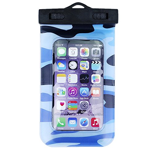 Topland  Ultralight Universal Waterproof Snowproof Dustproof Case Pouch For Outdoor Activities Fits Iphone  Samsung  Lg  Phone Size Up To 6 Inches And Cards  Passport  Keys  Camo   Blue