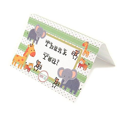 y Jungle Zoo Animals THANK YOU Cards Baby Shower Birthday Party Safari Theme Boys Girls (Baby Boy Jungle)