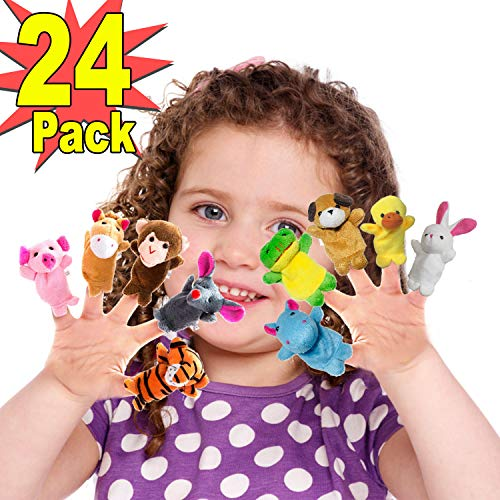 24Pcs Plush Animal Finger Puppets for Kids, Soft Velvet Dolls Props Toys Included Cute Bunny Panda Mini Figures Toy Assortment Game For Autistic Children, Great Family Parents Talking Story Set