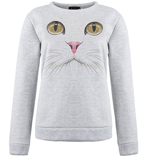 Jubileens Unisex Cute 3D Cat Face Print Novelty Sweater Sweatshirt Pullover (L)