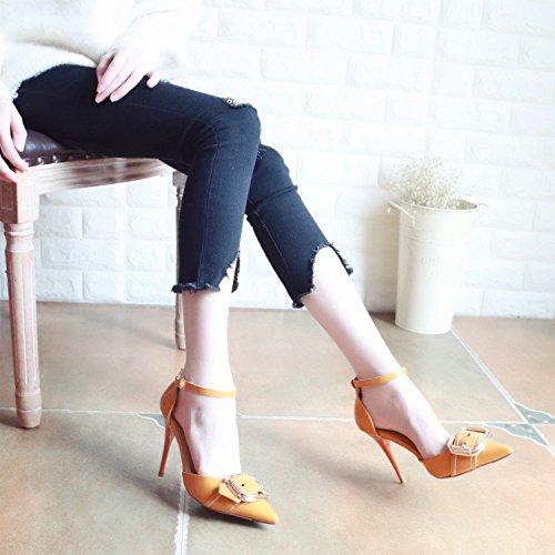 sandali con da tacco è cava scarpe femmina asolati Corte scarpe di rebbio scarpe fissaggio Qiqi luce singolo alta Xue Giallo bene calzature donna di ballo dispositivi Scarpe la metallo nw0AqRxU