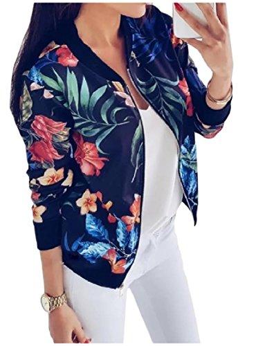 Howme-Women Short Style Zipper Baseball Cardi Floral Printed Jackets Outerwear Navy blue