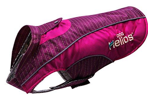 DOGHELIOS 'Reflecta-Bolt' Sporty Performance Fashion Tri-Velcro Reflective Pet Dog Coat Jacket w/ Body Heat Reflection Technology, Small, Pink