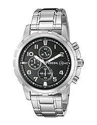 Fossil Men's Stainless Steel Bracelet Analog Dial Chronograph Watch Black FS4542