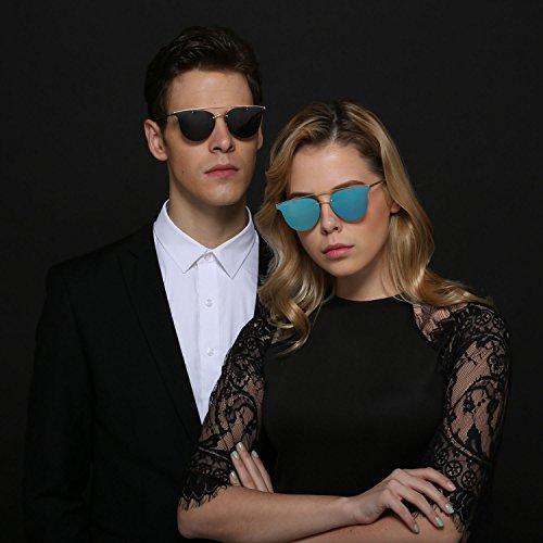 hombre de de hombre Espejo polarizadas verano gafas mujer Marco para plana mujer sol Black ligero sol lente Gafas de playa metal ultra wHP8Iw