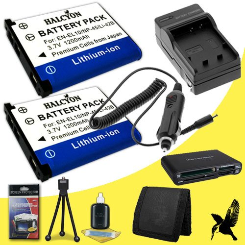 Two Halcyon 1200 mAH Lithium Ion Replacement D-LI63 Battery and Charger Kit + Memory Card Wallet + Multi Card USB Reader + Deluxe Starter Kit for Pentax Optio M40 Digital Camera and Pentax D-LI63 by Halcyon