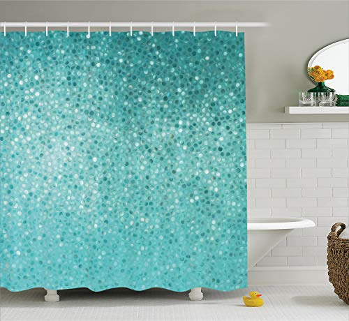 Ambesonne Turquoise Shower Curtain, Small Dot Tiles Shape Simple Classical Creative Design, Cloth Fabric Bathroom Decor Set with Hooks, 70