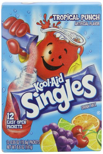 Kool Aid Punch - Kool-Aid Singles Tropical Punch (for 16.9-Ounce Bottles), 12-Count Packets (Pack of 6)