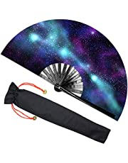 Zolee Large Rave Folding Hand Fan with Bamboo Ribs for Men/Women - Chinese Japanese Handheld Fan with Fabric Case - for Dance Music Festival Party, Performance, Decorations, Gift (Purple Galaxy)
