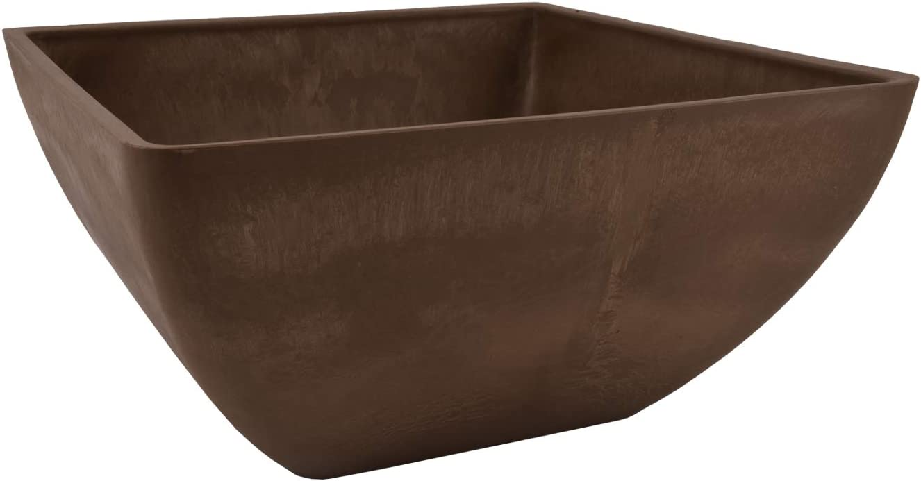 Arcadia Garden Products PSW FBD30C Simplicity Square Planter, 12 by 12 by 6-Inch, Chocolate