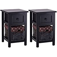 Giantex 2 Pcs 2 Tier Nightstand Bedroom End Table Bedside Organizer Wood with Drawer & Basket, Black