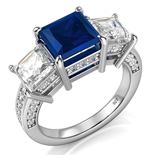 Sz 7 Sterling Silver 925 Princess Cut Blue & White Cubic Zirconia CZ Engagement Ring Sterling Silver Metal Fashion Ring
