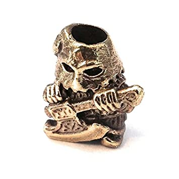 NEW EXECUTIONER COLLECTIBLE BEAD BRONZE PARACORD LEATHER LANYARD BEADS HAND-CAST METAL