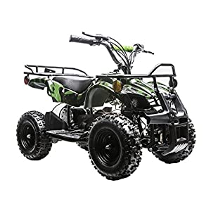 Rosso Motors Kids ATV Kids Quad 4 Wheeler Ride On Utility with 800W 36V Battery Electric Power Lights in Army Camo Green Motorcycle for Kids, Disc Brake System and Reverse for Child Safety