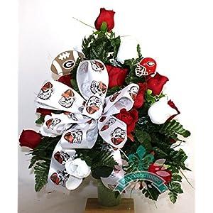 Georgia Bulldog Fan White and Red Roses 3 inch Vase Flower Arrangement 6