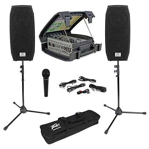 Package: Peavey Messenger Compact Portable 100 Watt PA Sound System /Speakers in Case + Pair of Black Powder Coated Peavey Speaker Stands and Adapters
