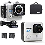 WiMiUS 4K Ultra HD 20MP Action Camera Waterproof 30m WiFi Sports Camcorder 170 Wide Angle Lens with Helmet Accessories Kit and Portable Bag,Silver