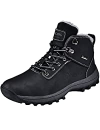 Rioneo Winter Snow Boots Waterproof Mens Walking Hiking Fur Lined Sports Outdoor Shoes Black Brown 39-46