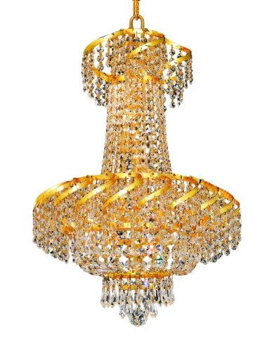 Elegant Lighting ECA2D18G/RC Belenus 22-Inch High 6-Light Chandelier, Gold Finish with Crystal (Clear) Royal Cut RC Crystal (Belenus 18 Light)