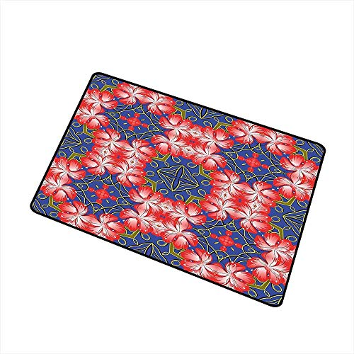 Carpets Indoor/Outdoor Area Rugs Floral,Blooms Pattern on Diamond Shaped Bands Vibrant Flowers Glamour Beauty Print,Royal Blue Red Gold,with Non Slip Backing,35