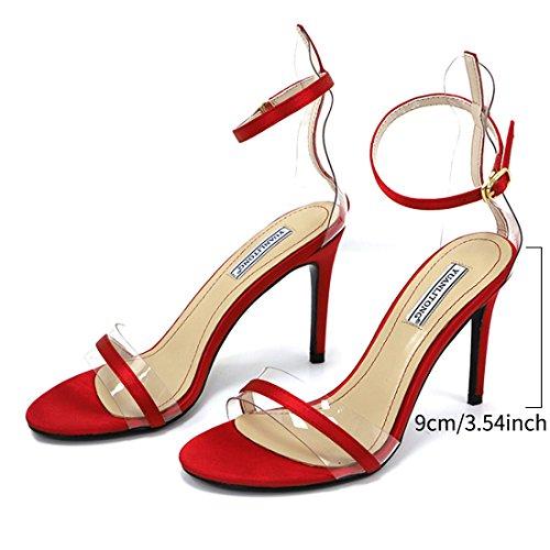 Jiyaru Women Heeled Sandals Party Dress Stiletto Pump Shoes Ankle Strap Open Toe Red aQ1gt