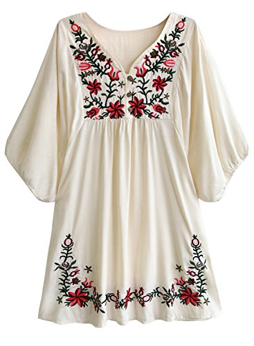 - Amy Babe Mexican Floral Embroidered Peasant Flowy Blouse Dressy Cover Ups Tunic Tops Beige