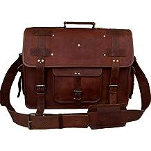 VINTAGE COUTURE 18 Inch leather messenger bags for men women mens briefcase laptop bag best computer shoulder satchel school distressed bag