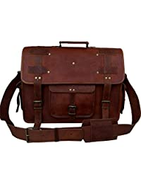 VINTAGE COUTURE 18 Inch leather messenger bags for men women mens briefcase laptop bag best computer shoulder satchel school distressed bag