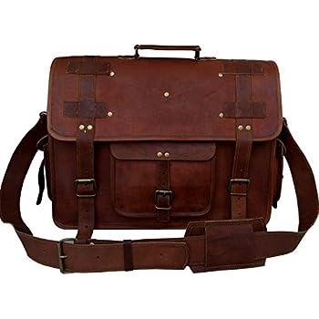 Amazon Com 18 Quot Large Brown Leather Bag For Men Messenger