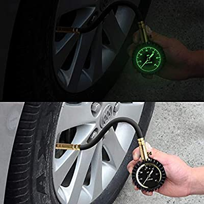 VI-CO Tire Gauge - (0-60 PSI) Heavy Duty Tire Pressure Gauge Certified ANSI Accurate with Large 2 Inch Easy to Read Glow Dial, Low - High Air Pressure Tire Gauge for Motorcycle/Car/Truck Tires (1): Automotive