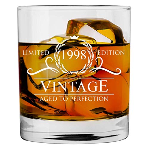 1998 21st Birthday Gifts for Women and Men Whiskey Glass | Funny Vintage 21 Year Old | Anniversary Gift Ideas Him Her Dad Mom Husband Wife | 11 oz Whisky Bourbon Glasses | Party Supplies Decorations