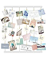 Umbra Hangup DIY Picture Frames Collage Set Includes Wire Twine Cords, Natural Wood Wall Mounts and Clothespin Clips for Hanging Photos, Prints, and Artwork Extra-Large White