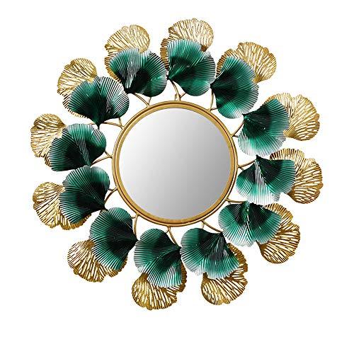HOBIRD Wall Mirror, Round 3D Golden Ginkgo Leaf Wrought Iron Framed in -