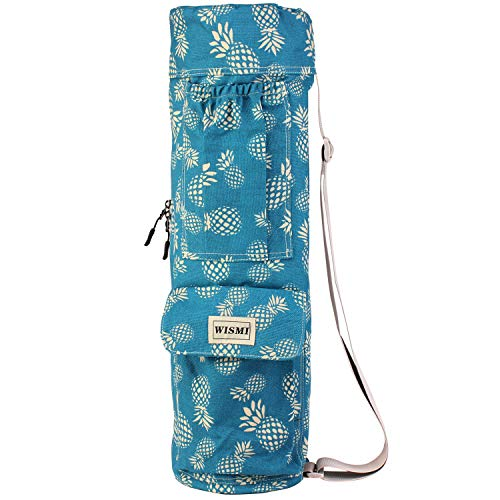wismi Yoga mat Carrier Bag Patterned Canvas with Pocket and Full-Zip (Pineapple Passion)