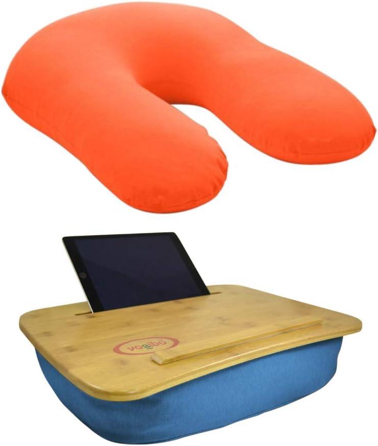 Yogibo Home Office Essentials Bundle Set - Turquoise Traybo 2.0 Lap Desk & Orange U-Shaped Support Reading Pillow (2 Items)