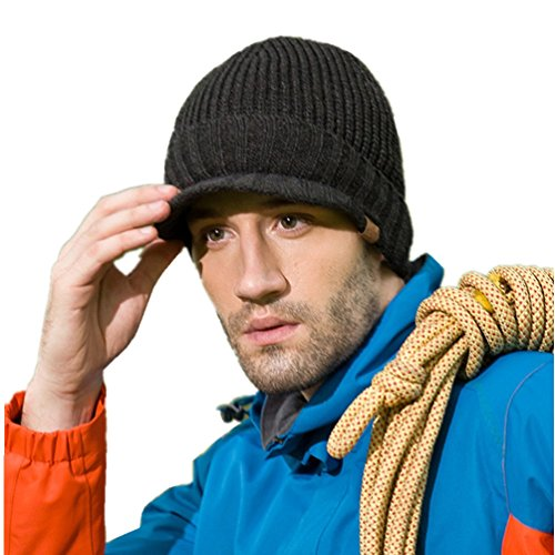 Home Prefer Men's Outdoor Newsboy Hat Winter Warm Thick Knit Beanie Cap with Visor Dark Gray